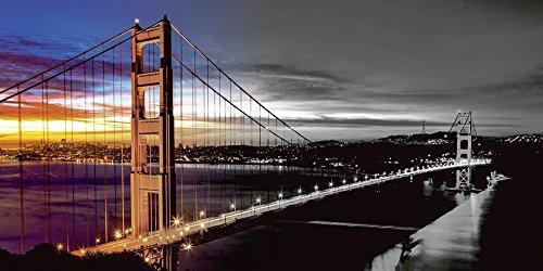Artland Qualitätsbilder I Glasbilder Deko Glas Bilder 100 x 50 cm Architektur Brücken Foto Schwarz Weiß A7QG The Golden Gate Bridge