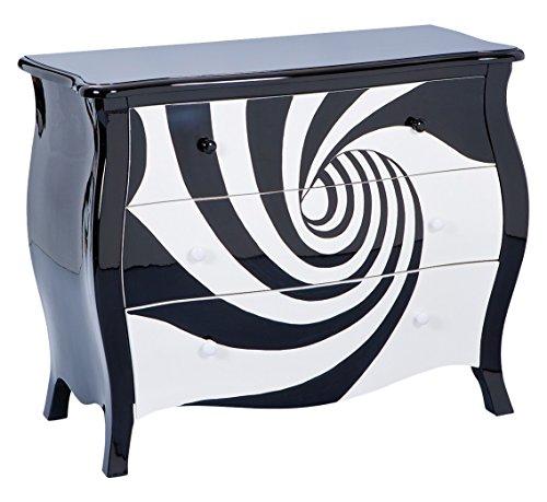 Inter Link 85400216 Kommode, MDF, Massivholz, hochglanz schwarz / weiß, 94 x 43.2 x 76.8 cm