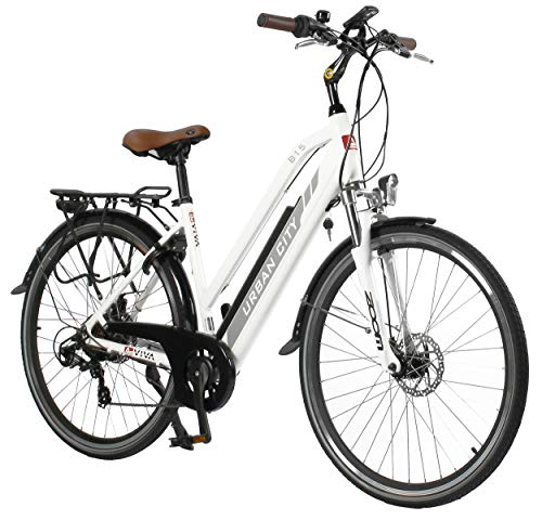 "AsVIVA E-Bike Trekkingrad - 28\"" CityBike Tiefeinsteiger B15-D 36V 14,5Ah Samsung Zellen Akku | 7 Gang Shimano Schaltung | sehr starker 250W Heckmotor | Alu Elektrofahrrad Pedelec in weiß grau"