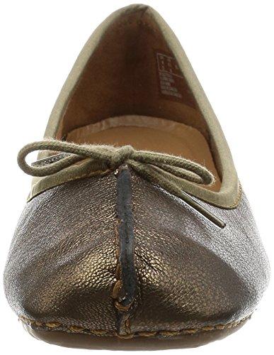 Clarks Freckle Ice, Ballerine Donna Grigio (Bronze Leather)