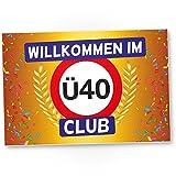 DankeDir! Ü40 Club - Kunststoff Schild (Gelb), Geschenk 40. Geburtstag, Geschenkidee Geburtstagsgeschenk Vierzigsten, Geburtstagsdeko/Partydeko / Party Zubehör/Geburtstagskarte