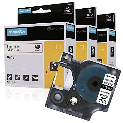 Industrie-Vinylband-kompatibles DYMO Rhino 9mm x 5,5 m 18443-Etikettenband Schwarz auf Weiß, für DYMO Rhino-Etikettendrucker Dymo Rhino 4200,Dymo Rhino 5200,Dymo Rhino 6000,Dymo Label Manager-Drucker