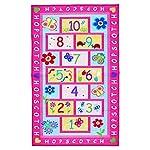 KEPSWET Girl Children Hopscotch Game Rug Pink Kid Nursery Classroom Play Carpet Bedroom Floor Mat Rectangle