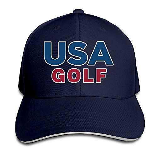 Feruch Men's 2016 USA Golf Team Club Adjustable Washed Twill Sandwich Caps Hats Navy -