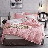 Luofanfei Rosa Bettwäsche King Size 220 x 240 cm Geo Streifen 3 Teilig Bettbezug Baumwolle Koralle Weiß Gestreift