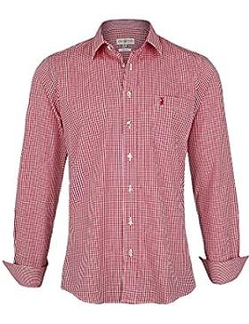 Herren Almsach Trachtenhemd Slim Fit kariert rot, Rot,