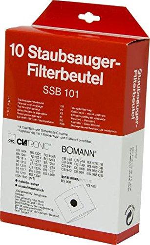Original Clatronic-Staubsauger-Beutel-Set für Bs 1274 (10 Stück Original Clatronic Staubsauger-Beutel, 1 Stück Original Clatronic-Motorschutz + Mikro-Feinstfilter, Naturbelassen, Umweltfreundlich + Doppelwandig) NEU + OVP