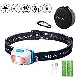 King-Pin LED Stirnlampe Kopflampe USB Wiederaufladbare Wasserdicht Leichtgewichts Mini Stirnlampe 7 Leuchtmodi Perfekt fürs Laufen Jogging Campen Radfahren