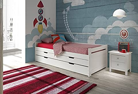 Rom 90x 190Massivholz-Bett in weiß