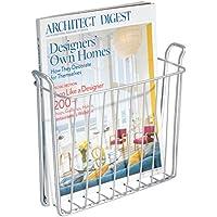 mDesign Revistero - Revistero pared para el baño, la cocina o la oficina - Revistero pared metálico para libros y revistas - Color: plateado