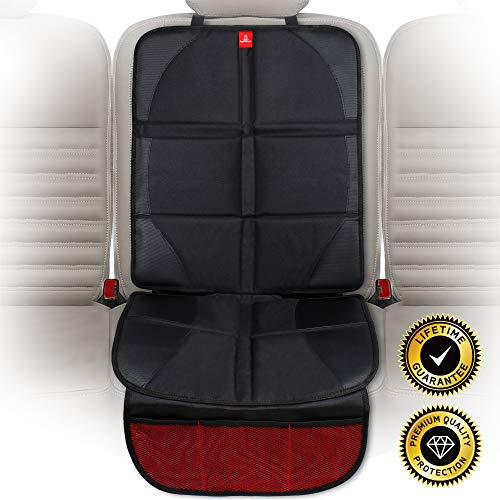 ROYAL RASCALS Car Seat Protectors for Child Seats - Protects Upholstery from Stains & Damage with Padded Cover - Organiser Pockets - Universal & fits Isofix - Forward and Rear Facing Baby Seat Liner