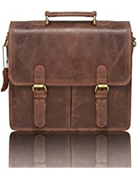 Leaderachi - 100% Genuine Vintage Hunter Leather 35ltrs Brown Briefcase Bags