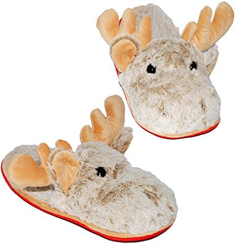 Hausschuhe / Pantoffel -  Elch - Rentier  - Größe 38 - 39 - 40 - Plüschhausschuh - super weich - für Kinder & Erwachsene - Tierhausschuhe - Tier / Puschen -.. ()