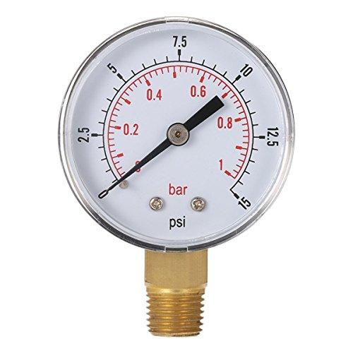 Gugutogo Mini Niederdruckmesser für das Luft-Kraftstoff-Öl oder Wasser 50 mm 0-15 psi 0-1 bar 1/4 Zoll BSPT TS-50 Dual-Meter-Skala (schwarz und Silber) -