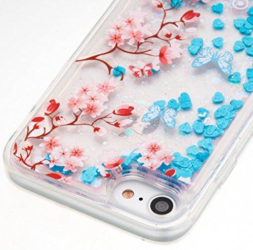 iphone 7 Hülle,SKYXD Glitzer Flüssig Wasser Kreativ Design Weiche Silikon Gel Gummi [Nicht Hard Case] Brillianter Leichtes Glatt Schutzhülle mit [Handyanhänger + Eingabestifte] Handy Tasche Hülle Etui Color-11