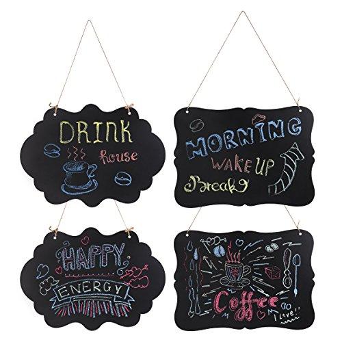 4 Pack Kreidetafeln Beidseitig Aufhängen Kreidetafeln Mini Nachricht Zeichen Board mit hängenden Zeichenfolgen und Putztuch
