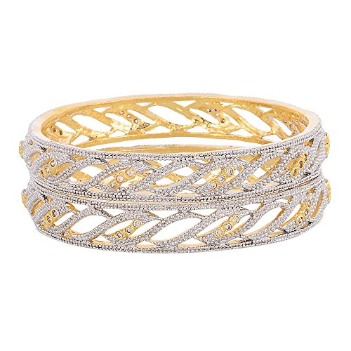 Zeneme American Diamond Gold Plated Bangles Jewellery For Women /Girls (2.4)