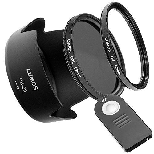 Zubehör Set Passt zu Nikon AF-S 18-55 VR II & D5300 D3300 | Fernauslöser Gegenlichtblende 52mm UV Filter & Polfilter | LUMOS Passion Connect HB-69