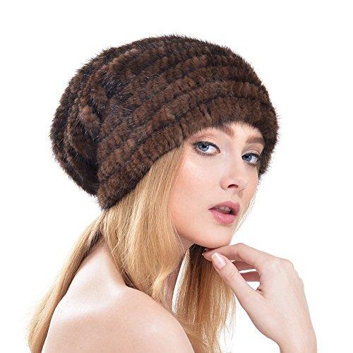Vemolla berretto per donne a maglia in vera pelliccia di visone con perline marrone