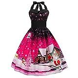 Partykleider Damen Elegant Weihnachten Neckholder Rückenfrei Sexy Kleid Vintage Ärmellos Knielang A Linie Drucken Abendkleid Swing Kleider (S, Pink)