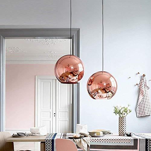 Glas Sphärische Hängelampe Moderne Ball Pendelleuchte, Hängeleuchte Galvanisieren Lampenschirm, E27 LED Lampe Kupfer Spiegel Kronleuchter für Wohnzimmer Esszimmer Schlafzimmer Küche,Rosegold,Ø30cm -