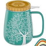 amapodo Teetasse mit Deckel und Sieb 650ml Porzellan Tasse groß, XXL Tassen Set plastikfrei Türkis losen Tee