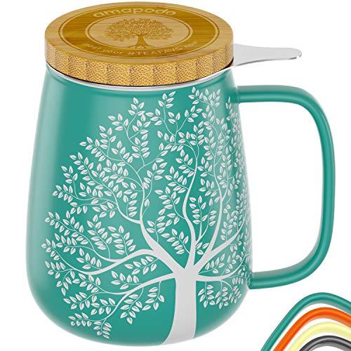 amapodo Teetasse mit Deckel und Sieb 650ml - Geschenk, Porzellan Tasse groß, XXL Tasse Set Türkis für losen Tee