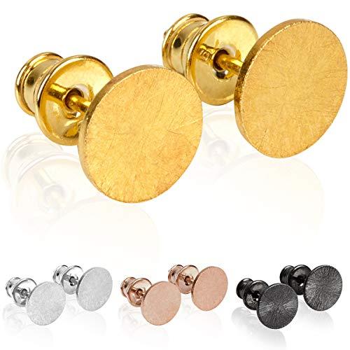 modabilé Damen Ohrstecker Rund aus 925 Sterling Silber (8mm) CIRCLE Ohrringe Vergoldet: Kreis, Klein & Flach + Geschenk-Etui I Made in Europe - Vergoldet