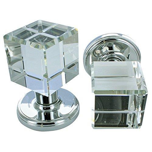 G Decor Türknauf, massiv, quadratischer Kristallschnitt, facettiertes, klares Glas, Chrom-Finish, 60mm, 1 Paar