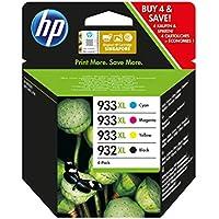 HP 932XL-933XL C2P42AE, Pack de 4, Cartuchos de Tinta de Alta Capacidad Originales Negro y Tricolor, compatible con impresoras de inyección de HP OfficeJet 6100, 6600, 6700, 7110, 7510, 7610, 7612
