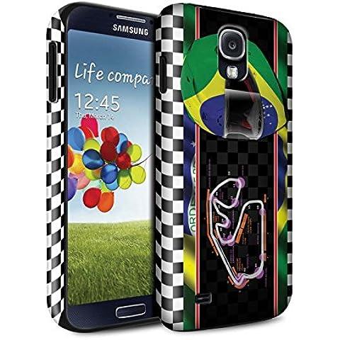 STUFF4 Brillo Duro Carcasa/Funda a Prueba de Golpes para el Samsung Galaxy S4/SIV / serie: Bandera pista f1 - Brasil/são paulo