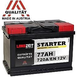 LANGZEIT Autobatterie 12V 77AH 720A/EN +30% mehr Leistung ersetzt 70Ah 72Ah 74Ah 75Ah Starter Batterie
