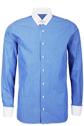 Schaeffer Hemd Modern Cut Streifen blau Piccadilly / Pin Collar weiß, Größe: XXL Collar Pin Shirt