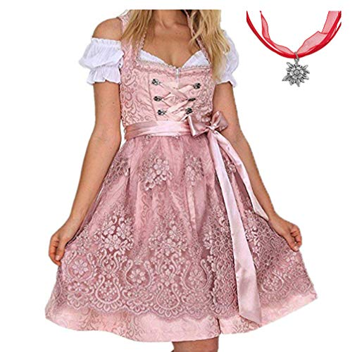 Jodimitty Tracht Kleid Damen Dirndl für Oktoberfest Traditionall Kostüme Kurzarm Mini Baumwolle 3 TLG - Rosa Damen Kostüm