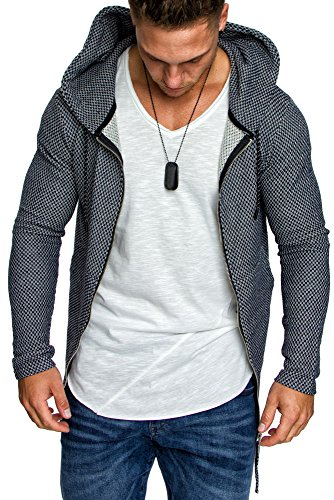 Amaci&Sons Oversize Herren Kapuzenpullover Zipper Sweatshirt Hoodie Sweatjacke Pullover 4021 Navyblau M