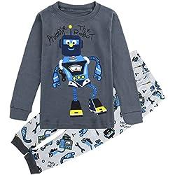 Mombebe Niños Chicos Dinosaurio Conjunto De Pijamas Ropa De Dormir (Robot, 7 años)