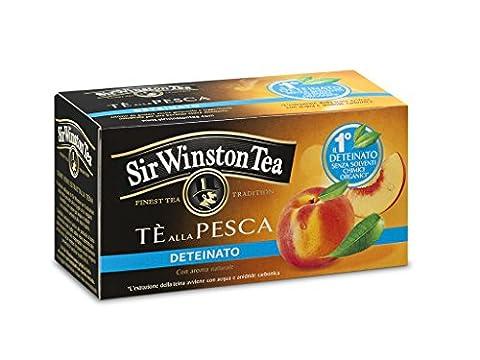 Sir Winston Tea - Black Tea with Peach Decaf (Entkoffeinierter Schwarzer Pfirsichgeschmack) - 4 x 20 Teebeutel (gesamt:80 st)
