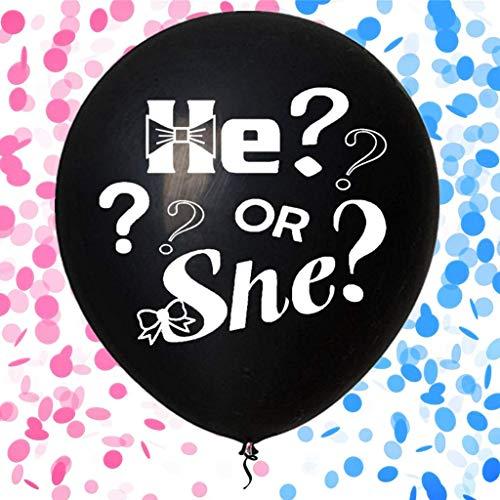 DreamJing He or She Luftballon Baby Shower Party Deko Schwarz Konfetti Rosa/Blau,36 Zoll Geschlecht Reveal Ballon Party Foto (Und Rosa Schwarz Baby-dusche)