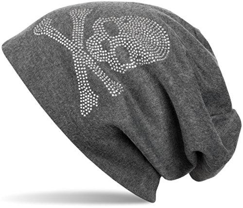 styleBREAKER klassische Beanie Mütze mit Totenkopf Strass Applikation, Unisex 04024034, Farbe:Dunkelgrau meliert;Materialart:warm