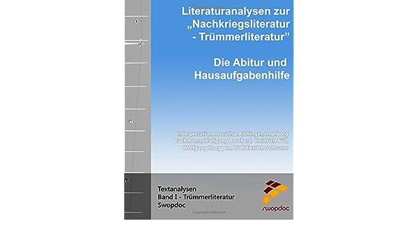 Buy Literaturanalysen Zur Nachkriegsliteratur: Trümmerliteratur: Die ...
