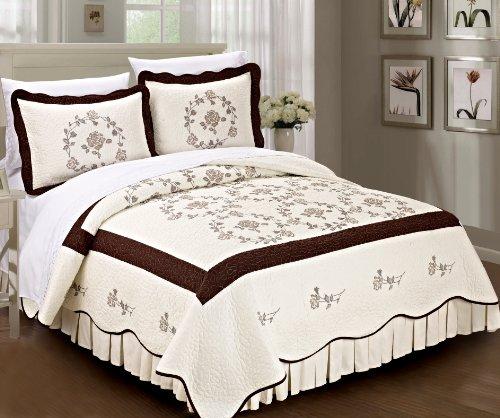 Home Soft Things Serenta Classic Rose Blumen 100% Baumwolle Tagesdecke Quilt Decke 3-teiliges Bett-Set, Queen, Schokolade - Bett Queen-schokolade