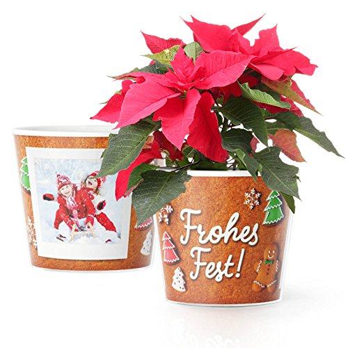 Frohes Fest Blumentopf (ø16cm) | Geschenke zu Weihnachten für Großeltern, Mama und Papa oder Verwandte mit Foto Rahmen für Zwei Fotos (10x15cm)