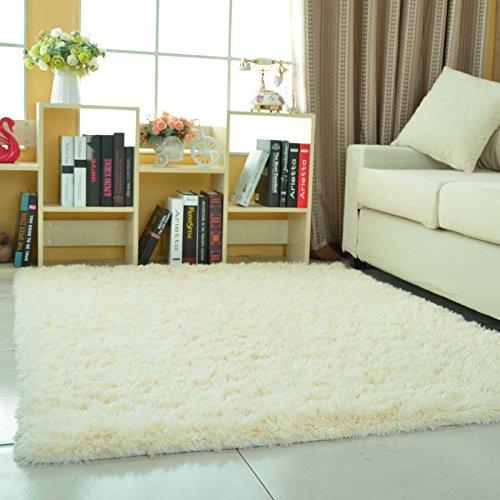 KOOCO La alfombra de felpa blanca Dormitorio Comedor alfombras mullidas alfombras Crawing niños decoracion suave colorido salón Alfombras, Blanco, redondo Diámetro 120CM