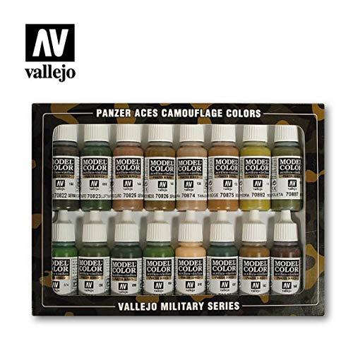 Vallejo Model Color mimetico Panzer Aces-Set pittura acrilica, colori assortiti (confezione da 16)