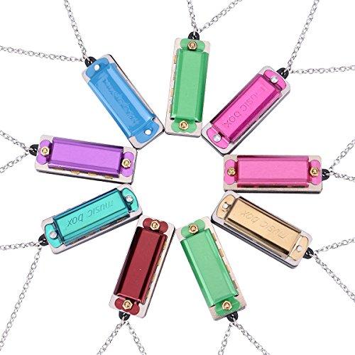 She-Lin Mini-Mundharmonika-Halskette mit 4 Löchern und 8 Tönen für Kinder und Erwachsene, 9 Stück