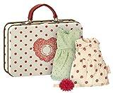 Maileg–Rouge Polka Valise–Vêtements pour sadapter au micro Lapins, Big Sister & Cousin Mouse–2robes