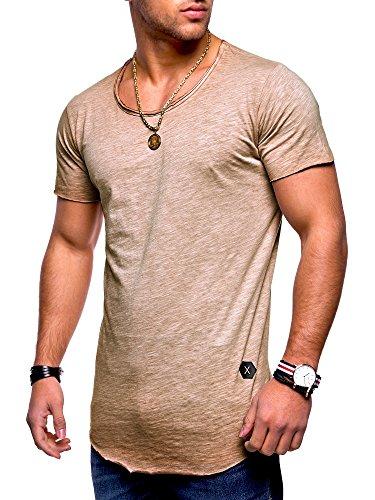 MT Styles Herren Oversize T-Shirt Crew Rundhals MT-7103 [Beige, XXL]