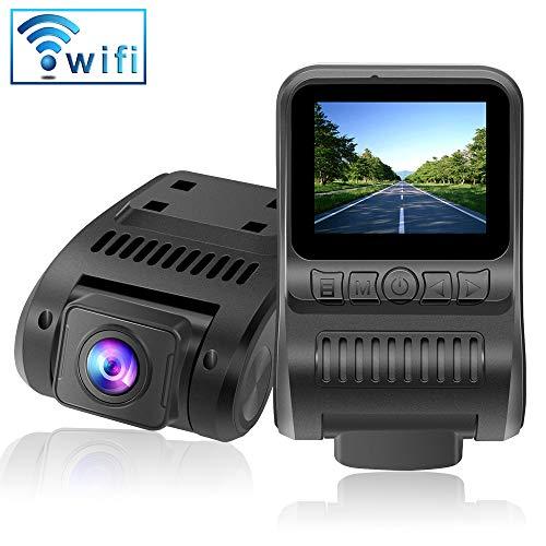 Dashcam WiFi 1080P FHD Autokamera 2.0 Zoll LCD Dashcam with Super Nachtsicht, 170° Weitwinkelobjektiv, G-Sensor, Loop-Aufnahme, Bewegungserkennung, Parkmonitor, WDR