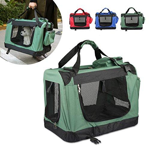 Faltbare Hundebox 70x52x52cm Haustier Transportbox Klappbare Hundebox Autobox inkl. Gepolstert und Gerüst aus Metall -- Grün