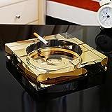 Rollsnownow Gold Kristall Glas Aschenbecher kreative Persönlichkeit Geschenk Außendurchmesser 13 * 13 * 3 cm, Innendurchmesser 9 * 9 * 1,8 cm